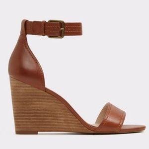 Aldo Brown Leather Wedge Sandal - Evitta - 8.5